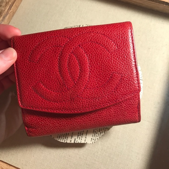 0eefa9a5f2cd CHANEL Handbags - Red Chanel Double Snap Compact Wallet